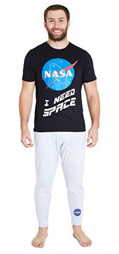 Nasa Pijama Hombre, Pijama Hombre Invierno de Algodon, Conjunto 2 Piezas Camiseta Manga Corta y Pantalones, Regalo para Hombre y Adolescente Talla M-2XL (Negro, L)