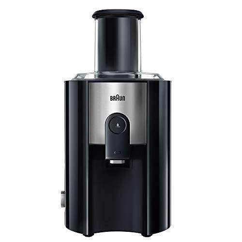 Braun J500 Multiquick Juicer - Licuadora Exprimidor, 900w, surtidor anti-salpicaduras, jarra de zumo 1,25 l, acero inoxidable, negro/plata, 38,1 x 51,1 x 26,4 cm