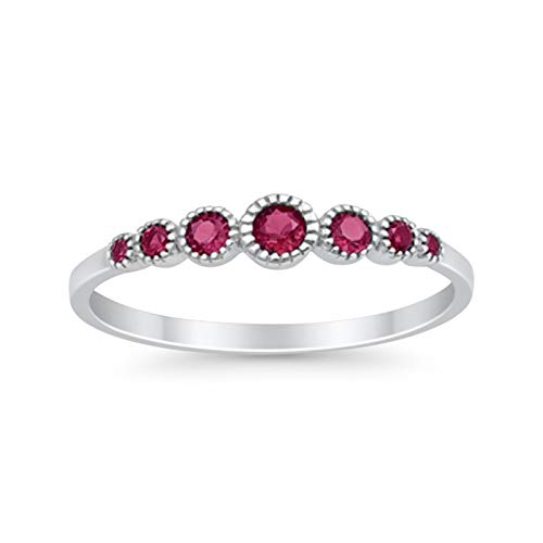 Blue Apple Co. 4mm Half Eternity Petite Dainty Wedding Band Ring Round Simulated Red Ruby 925 Sterling Silver