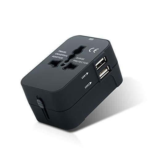 Intirilife Adaptador Universal de Enchufe en Negro - Convertidor Internacional de Enchufe con 2 Conectores USB para Gran Bretana, UE, Australia - Viajes internacionales