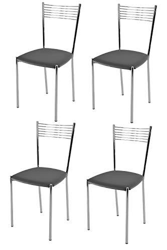 Tommychairs - Set 4 sedie modello Elegance per cucina bar e sala da pranzo, struttura in acciaio cromato e seduta imbottita e rivestita in pelle artificiale colore grigio scuro