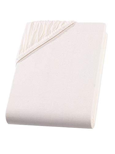 Betten Jumbo King Boxspringbettlaken Creme für 140-160 x 200-220 cm | Bis zu 40 cm Steghöhe | Premium Stoff mit 160 g/m² | Flexibel Dank Gummisaum | Atmungsaktiv, bügelfrei und pflegeleicht