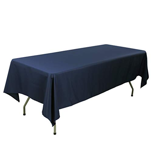 E-TEX 60 x 126-Inch Rectangular Tablecloth, 100% Polyester Washable Table Cloth for 8Ft. Rectangle Table,Navy Blue