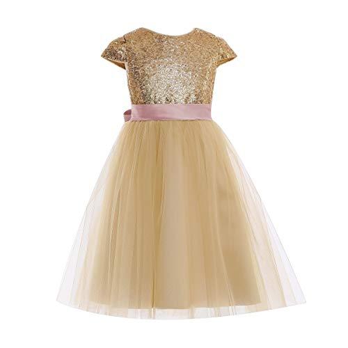Kleid für kleine Mädchen, Pailletten, Schleife, Prinzessin, Tanzball, Hochzeit, Party, Blume, Tüllkleid, ärmellos Gr. 34, rose
