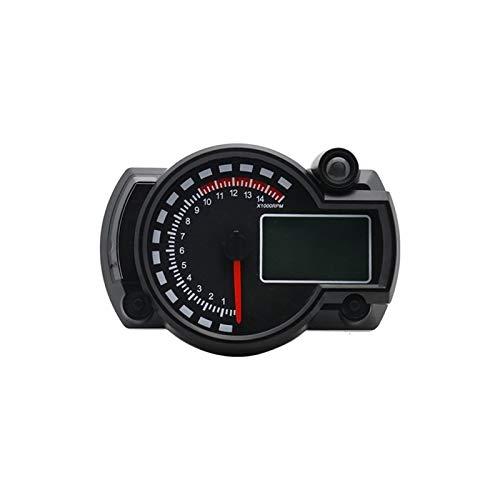 LIXUDECO Indicador de tacómetro 7 Colores LED de la Motocicleta ATV RX2N LCD tacómetro Digital 15000rpm Instrumento Speeeter (Color : Black)