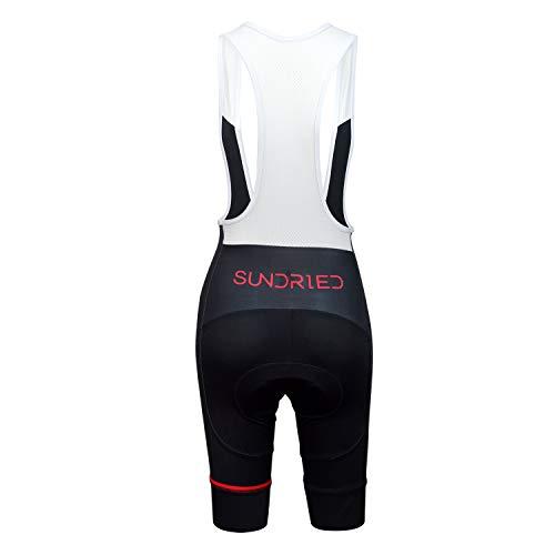Sundried Womens Gepolsterte Bib Shorts Rennrad und Mountainbike-Fahrradbekleidung (Schwarz, XS) - 5