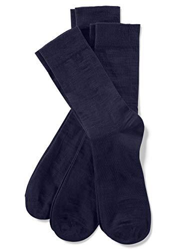 Weissbach Socken mit handgekettelter Spitze Marineblau