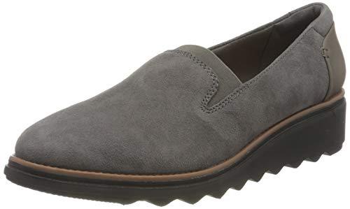 Clarks Damen Sneaker Slipper, Grey Suede w/ Dark Tan Welt, 37 EU