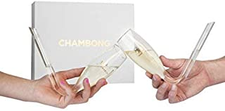 Chambong - Glass Champagne Shooters - Champagne Bong - Champagne Accessories - Prosecco Glasses - Bachelorette Party Favors - Bridesmaids Gifts - Prosecco Gifts - Dishwasher-safe, 6 oz. (2 Pack)