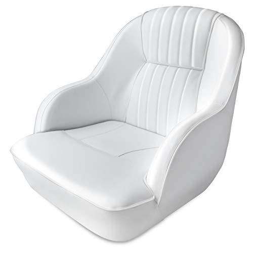Leadpro Pontoon Captains Bucket Boat Seat Boat Chair (White w/White Piping)