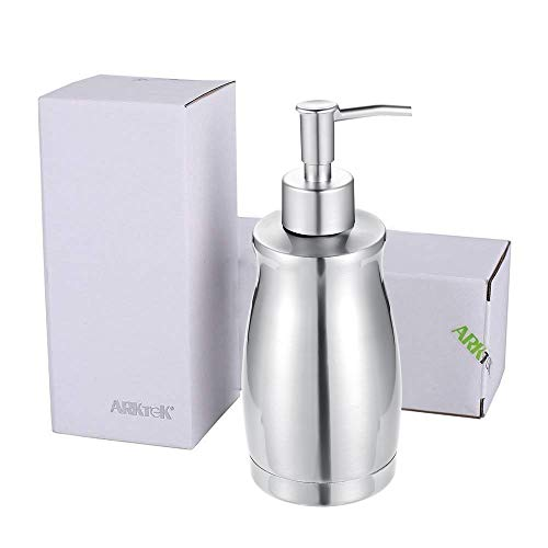 ARKTEK Stainless Steel Countertop Soap Dispenser 13.5 Oz - Rust and Leak Proof Liquid Hand Soap Pump, for Kitchen Sink, Countertops