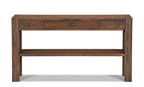 Naturholzmöbel Seidel Sideboard Massivholz mit Schublade u. Ablageboden Konsole Anrichte Schreibtisch Wandtisch, Rio Bonito, 140x38cm Pinie Massiv Cognac braun