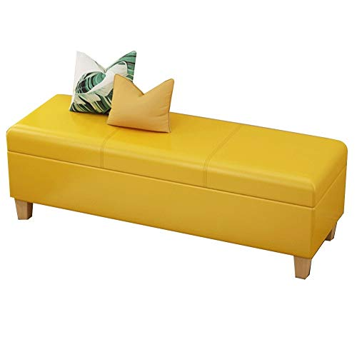 YCSD Faux Leather Storage Ottoman with Wooden Legs,Large Capacity Storage Space,Multipurpose Footstools Ottomans for Bedroom, Living Room Or Hallway(Color:Yellow,Size:120cm)