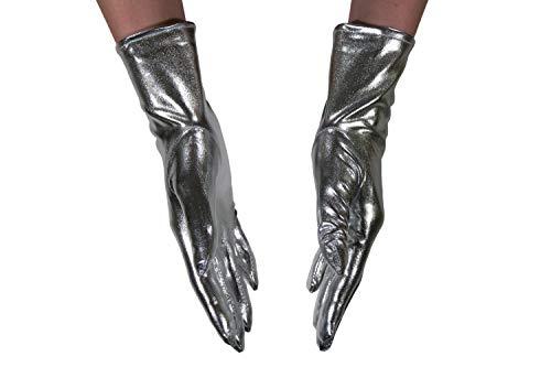 dressmeup - K0802S-SILVER Handschuhe Damen Herren Karneval Halloween Metallic Look Glänzend Silber Roboter SciFi