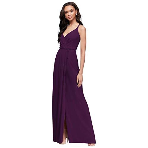 Double-Strap Long Georgette Bridesmaid Wrap Bridesmaid Dress Style F19755, Plum, 2