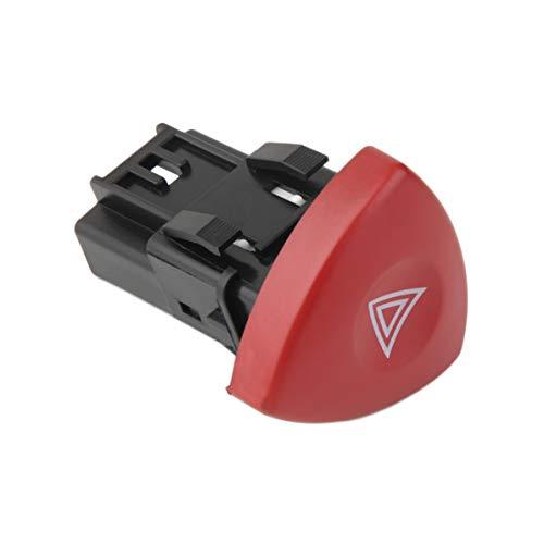 Interruptor de luz de advertencia de emergencia intermitente de advertencia Warnblinker Schalter para Renault Laguna Master Trafic II Vauxhall 01-14. Negro + Rojo WEIWEITOE