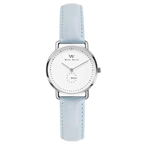 LONGSHUO Reloj análogo de Mujer Welly Merck Cuarzo Suizo con Brazalete de Cuero Azul W-C27L16