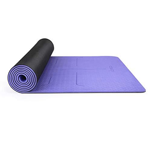 XINGDONG Esterilla de yoga de goma natural de 6 mm, gruesa, alargada, antideslizante, para principiantes, para mujer, fácil de almacenar (color: morado, tamaño: 6 mm)