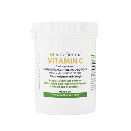 Acido ascorbico puro polvere cristallina fine, 0.55lb - 250g, vitamina C, grado Pharma (Ph. Eur, USP, BP). Heiltropfen®