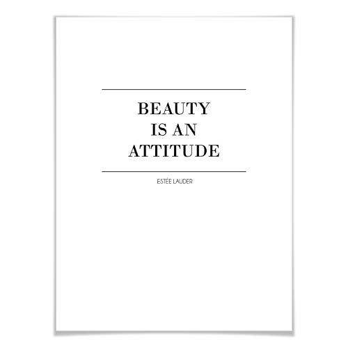 Empire Poster Beauty is an attitude typographique Beauté Réglage Estée Lauder Art, Noir, 24x30 cm