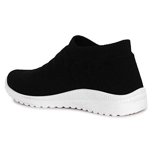 ZAPATOZ Women's Black Textile Slip-On Lightweight Running Walking Shoes