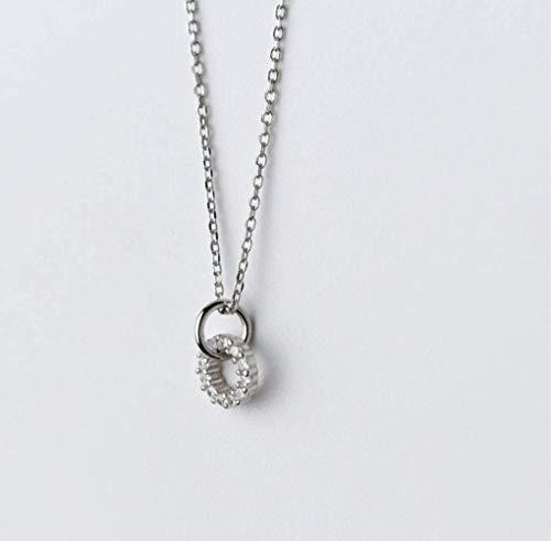 S925 zilveren ketting voor dames Koreaanse mode kleine frisse diamanten ring set ketting persoonlijkheid eenvoudige sleutelbeen ketting vrouw, Zilver, 925 zilver, EEH A ZILVER