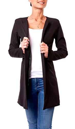 Easy Young Fashion Damen Satin Longblazer Kurzmantel Blazer Jacke Lang Rundhals Ausschnitt Kragenlos Uni Schwarz XS 34 (S)