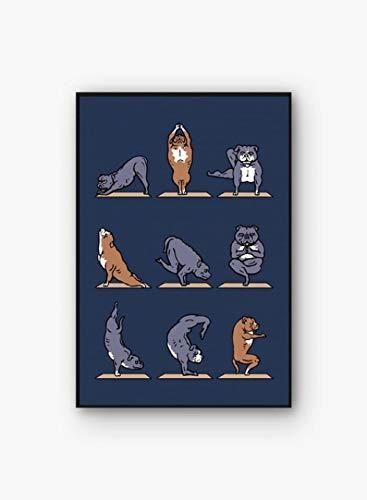 WJWGP Yoga Pared Arte Lindo Yoga Animal Acciones Lienzo Pintura Gracioso Dibujos Animados Perro Gato Yoga Poster Moderno Inicio Yoga HabitacióN Decoracion Deportes Cuadros 30x40cm No Marco