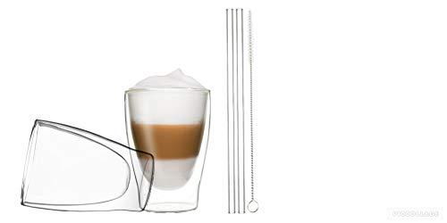 DUOS 2X 310ml doppelwandige Thermogläser + 2X Glas-Trinkhalme + 1x Bürste, doppelwandige Gläser mit Strohhalme und Bürste, by Feelino