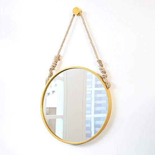 Bathroom HXLQ cosmeticaspiegel voor aan de muur, creatieve spiegel met touw, om op te hangen, slaapkamer, badkamer, spiegel van metaal, goudkleurig, zwart