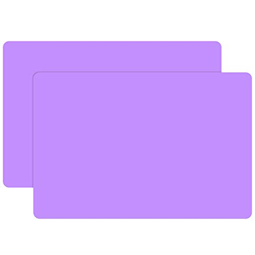 X-Large Silicone Craft Mats - 23.6 x 15.7 inch Counter Protector, Gartful Silicone Sheets for Jewelry Casting Molds, Epoxy Resin, Glitter Slime, Paints, Multipurpose Table Placemat, Purple, Set of 2