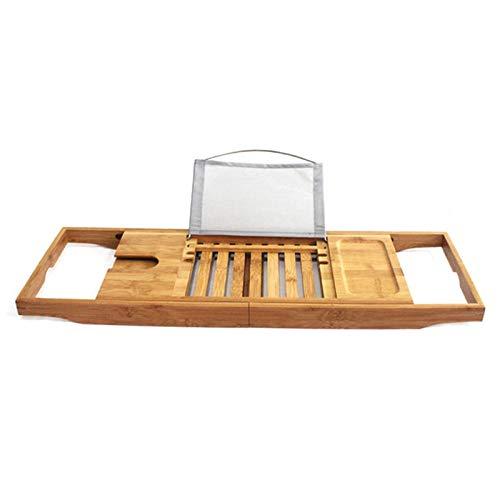 Bandeja de Baño de Bambú Natural Estante Multifuncional Extensible Estante de Bañera Puente de Bañera con Soporte para Copa de Vino Resto de Libros Ranura para Teléfono