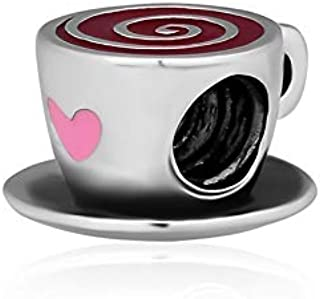 CKK Coffe Charm 925 Sterling Silver Jewelry Fits Pandora Bead Bracelet Lesiure Time with You,My Love Baby,Mixed Enamel