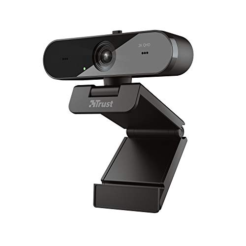 Trust Taxon QHD Webcam 2560x1440 (2K) with 2 Integrated Microphones and Autofocus, 30 FPS, USB Plug & Play, Streaming and Video Calling, for PC/Laptop/Mac/Macbook
