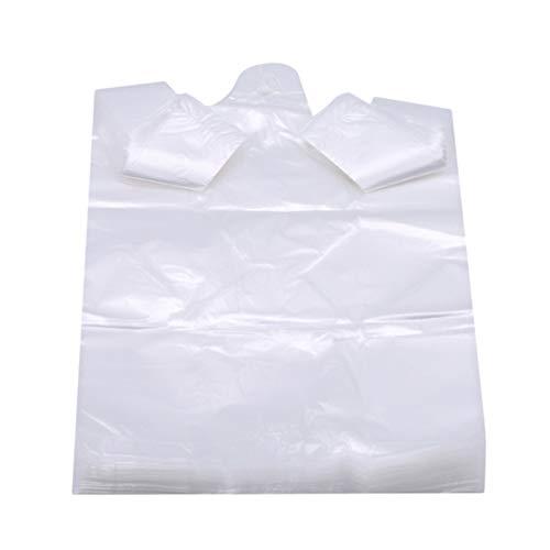 Aiasiry Bolsa De Plástico Transparente con Asa Bolsa De Compras Multiusos (100 Uds), Blanca, 15 * 26Cm