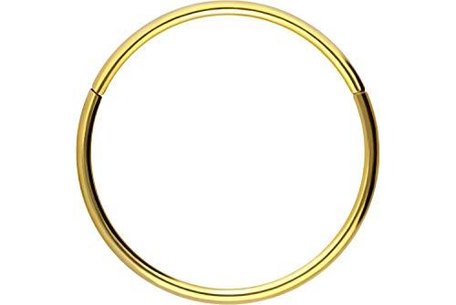 Piercingline - Piercing ad anello in acciaio chirurgico con chiusura a scatto, per setto nasale, helix, trago, colore e dimensioni a scelta, colore: oro, cod. SLX280-GO-0,8-10