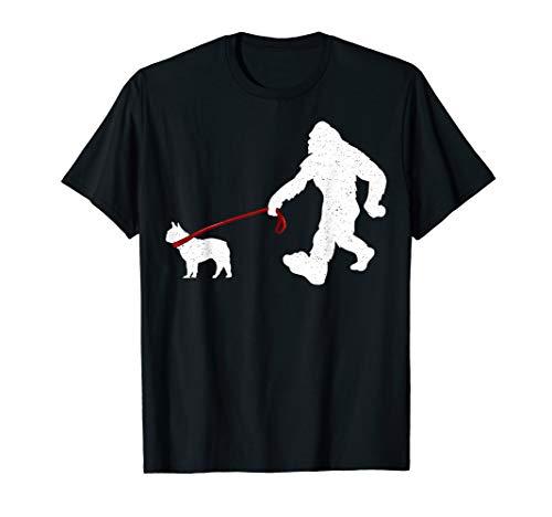Funny Bigfoot Walking With French Bulldog Dog Gifts T-Shirt