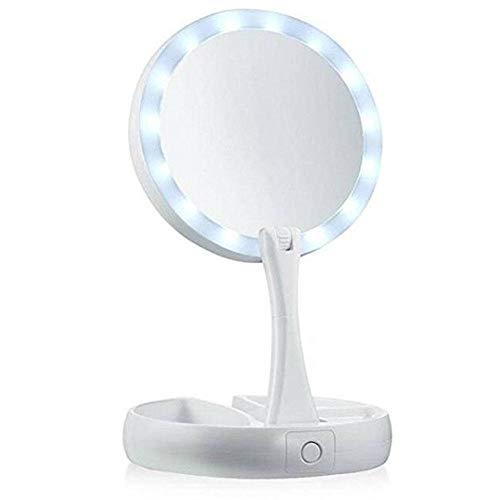 LED-make-upspiegel Dubbelzijdige rotatie Opvouwbaar USB Verlichte make-upspiegel Touchscreen Draagbare tafellamp Nieuw
