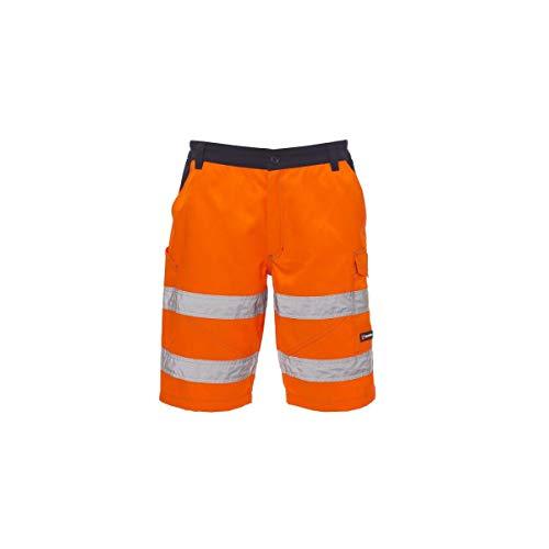 PAYPER Craft Bermuda da Lavoro Uomo Misto Cotone Poliestere Alta visibilità Chiusura Zip Tasche Porta Metro Elastici Passanti Arancione Fluo/Blu Navy (M)