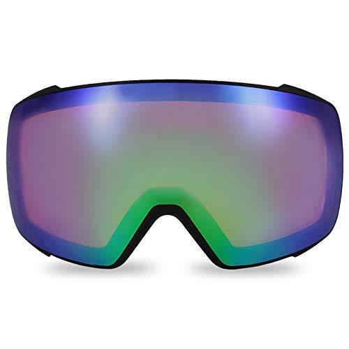 devembr Lente Tórica Rosa-Verde Gafas de Esquí Esféricos Pro, Lente Intercambiable con Imán, Gafas para Snowboard sin Marco Anti-Empañamiento, Protección UV (Solo Lente, VLT 45%)