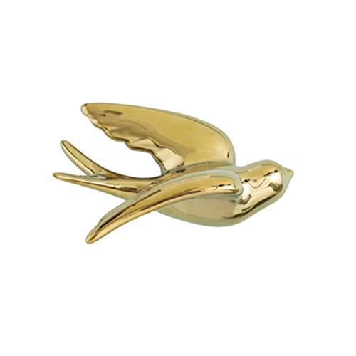 VICASKY Cerámica Colgante Golondrinas Gorrión Pájaros 3D Estilo Europeo Retro Pájaro Pared Decoración Montaje en La Pared Gorriones Decorativos Pájaro Ornamentos Escultura de Pared de Oro