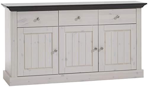 Steens Monaco Sideboard, 3 Türen, 3 Schubladen, 145 x 78 x 46 cm (B/H/T), Kiefer massiv, weiß-kolonial
