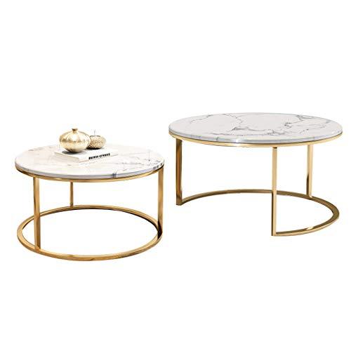 2-er Set Satztisch Runde Couchtische Moderner Beistelltisch - Marmor und Metall, (1 Groß und 1 Klein)