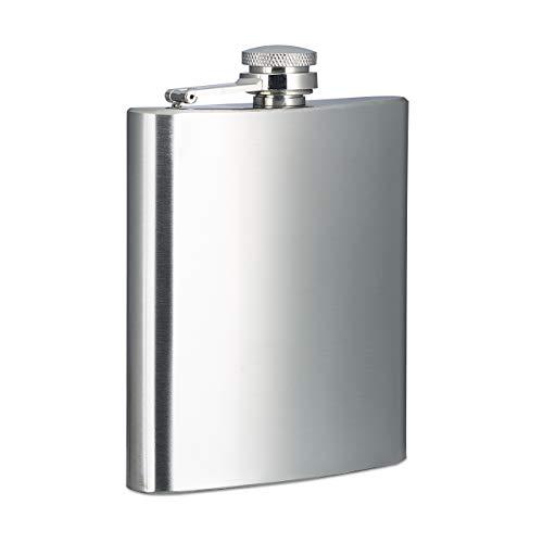 Relaxdays 10020580 Flasque inox 200 ml bouteille de poche boîte flasque alcool bouchon à vis argenté,2 x 9 x 12 cm