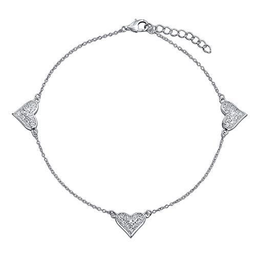 Bling Jewelry Multi Zirkonia Pave CZ Herzen Charm Fußkettchen Armband Für Damen Perlen Kugel Kette 925 Sterling Silber 8.5 Zoll