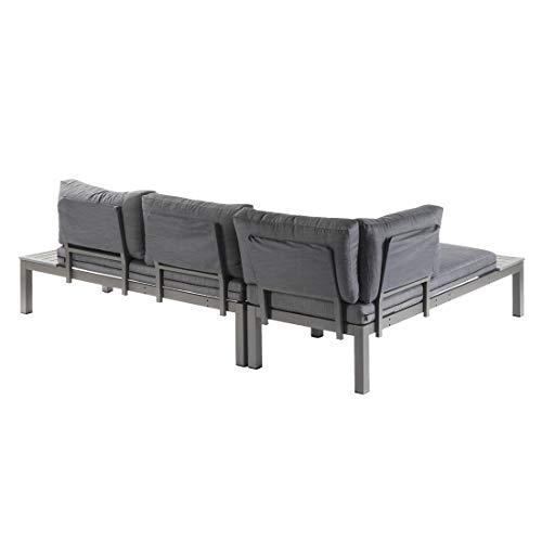 OUTLIV. Morsum, modulare Gartenlounge, Loungegruppe 3-teilig aus Aluminium mit Polstern in Grau, Loungemöbel - 4