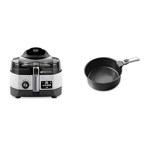 De'Longhi MultiFry Extra Chef FH1394 Heißluftfritteuse, Multicooker mit 1,7 kg Fassungsvermögen, 7 Kochprogramme, Umluftsystem mit 2 Heizelementen, 2300 Watt, grau/weiß & dlsk103H100Schale