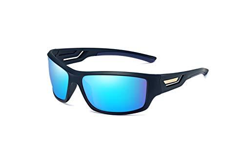 Skevic Polarisierte Sportbrille Sonnenbrille Herren und Damen TR90 Fahrradbrille mit UV400 Schutz - Radbrille für Autofahren Running Skifahren Fischen Radfahren Wandern Golf (Schwarz/Blau)