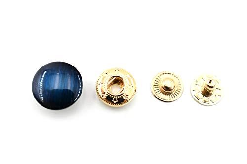 Bunte Messing-Gürtel/Handschuh-Schnappverschluss, 4 Farben (grün, blau, braun, kaffee), Leder-Dekoration (blau), 10 Stück