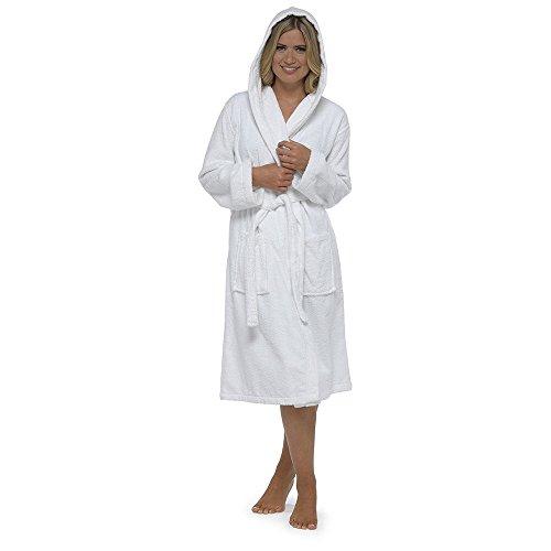 CityComfort Damen Robe Terry Frottee Baumwolle Bademantel Bademantel hoch saugfähige Frauen mit Kapuze und Schal Handtuch Bad Wickeln (L, Weiß)